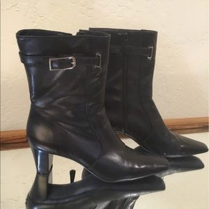 Cole Haan black Leather heeled boots made Brazil